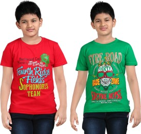 Dongli Printed Boy's Round Neck Red, Green T-Shirt Pack Of 2