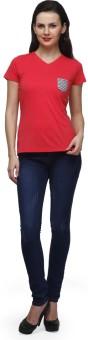 CHERYMOYA Solid Women's V-neck Pink T-Shirt