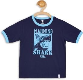 612 League Graphic Print Boy's Round Neck Dark Blue T-Shirt