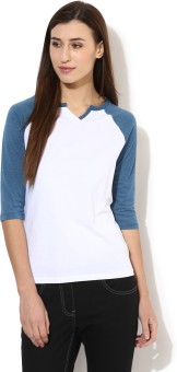 Tshirt Company Solid Women's Round Neck White, Blue T-Shirt