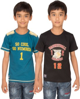 Ocean Race Graphic Print Boy's Round Neck Dark Green, Black T-Shirt Pack Of 2