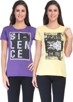C'Bella Printed Women's Round Neck Purple, Yellow T-Shirt Pack Of 2