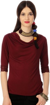 Annabelle By Pantaloons Solid Women's Fashion Neck T-Shirt