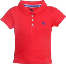 Vitamins Solid Baby Girl's Polo Neck Red T-Shirt