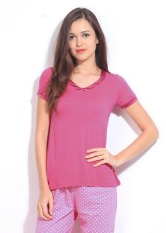 Enamor Solid Women's V-neck T-Shirt - TSHDUM9ETGBWMCUM