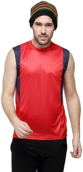 Campus Sutra Solid Men's Round Neck Red T-Shirt