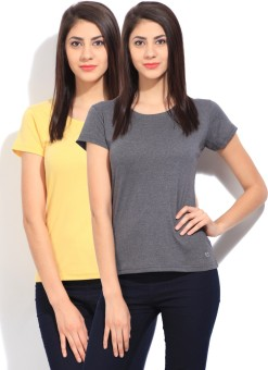 Fort Collins Solid Women's Round Neck Grey, Yellow T-Shirt Pack Of 2