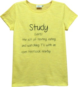 Abstract Mood Printed Girl's Round Neck Yellow T-Shirt