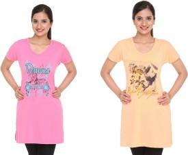IN Love Graphic Print Women's Round Neck Orange, Pink T-Shirt Pack Of 2