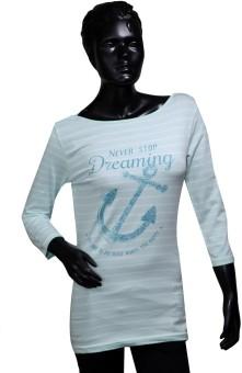 Starsy Printed Women's Round Neck Light Green T-Shirt