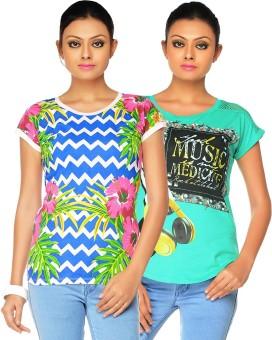 Jazzup Printed Women's Round Neck T-Shirt Pack Of 2 - TSHE6XP6ZHTTGPKV