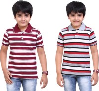 Dongli Striped Baby Boy's Polo Neck Silver, Maroon T-Shirt (Pack Of 2)
