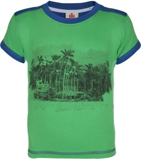 UFO Graphic Print Boy's Round Neck Green T-Shirt