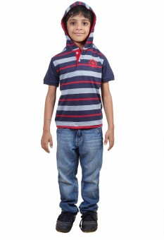 Stop To Start Striped Boy's Hooded T-Shirt