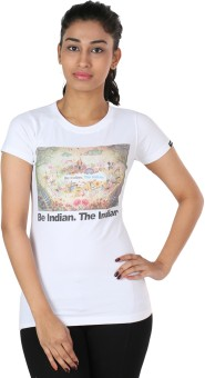 The Indian Be Indian Graphic Print Women's Round Neck T-Shirt