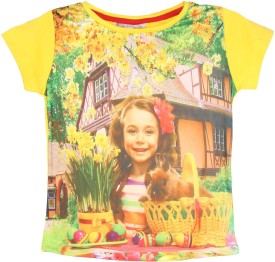Eimoie Graphic Print Girl's Round Neck Yellow T-Shirt