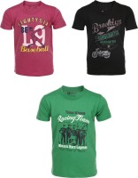 AJ Dezines Graphic Print Baby Boy's Round Neck Pink, Black, Green T-Shirt (Pack Of 3)