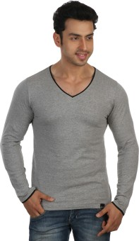 Rigo Grey Slim Fit Black Piping Solid Men's V-neck T-Shirt