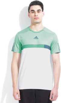 Adidas Solid Men's Round Neck White, Light Blue T-shirt