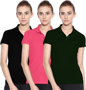 Polo Nation Solid Women's Polo Neck Green, Pink, Black T-Shirt Pack Of 3