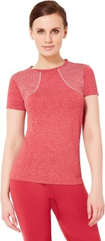 Amante Solid Women's Round Neck Red T-Shirt