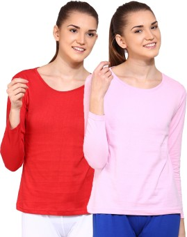 Ap'pulse Solid Women's Round Neck Red, Pink T-Shirt Pack Of 2