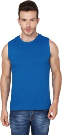 99Tshirts Solid Men's Round Neck Blue T-Shirt