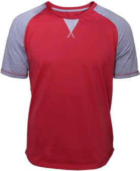 Poshuis Light Grey Melange And Red. Solid Men's Round Neck T-Shirt