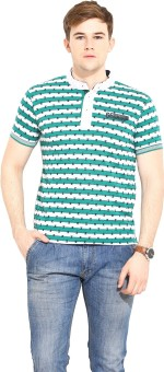 Duke Stardust Striped Men's Mandarin Collar Green T-Shirt