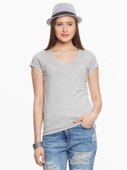 American Swan Solid Women's V-neck Grey T-Shirt