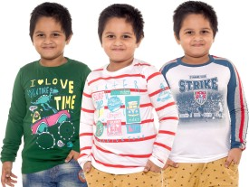 Menthol Printed, Striped Boy's Round Neck T-Shirt Pack Of 3