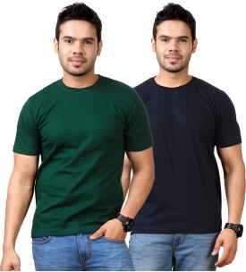 Top Notch Solid Men's Round Neck Dark Green, Dark Blue T-Shirt Pack Of 2