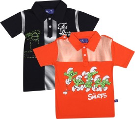 SPN Garments Printed Boy's Polo Neck Dark Blue, Orange T-Shirt