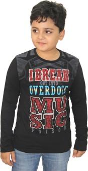 Purple Graphic Print Boy's Round Neck Black T-Shirt