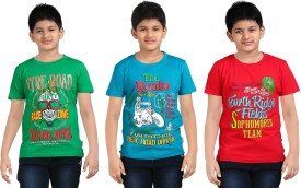 Dongli Printed Boy's Round Neck Blue, Green, Red T-Shirt Pack Of 3