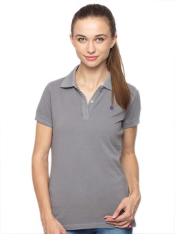 American Swan Solid Women's Polo Neck Grey T-Shirt