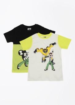 CHERISH Printed Boy's Round Neck White, Black, Yellow T-Shirt Pack Of 2
