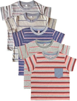 Orange And Orchid Striped Boy's Round Neck T-Shirt Pack Of 5
