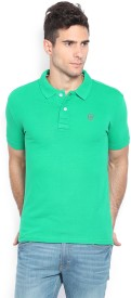 Status Quo Solid Men's Polo Neck Green T-Shirt