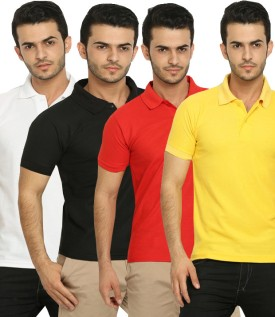 Fundoo-T Polo T-Shirt Solid Men's Polo Neck T-Shirt (Pack Of 4)