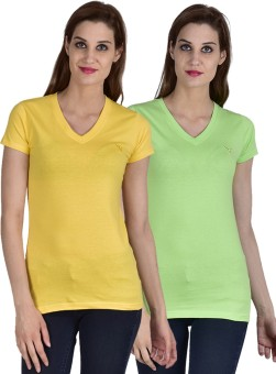 Youthen Solid Women's V-neck Green, Yellow T-Shirt Pack Of 2