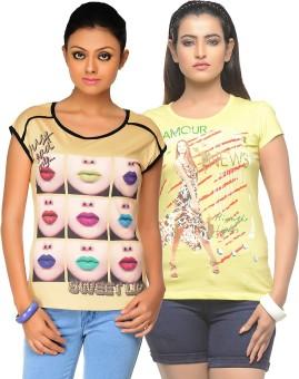 Jazzup Printed Women's Round Neck Yellow, Yellow T-Shirt Pack Of 2