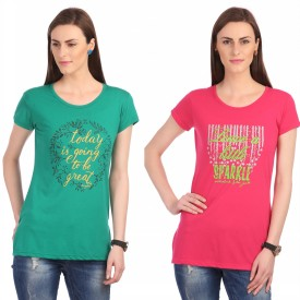 Neva Graphic Print Women's Round Neck Pink, Green T-Shirt Pack Of 2