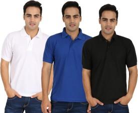 Larwa Solid Men's Polo Neck White, Blue, Black T-Shirt