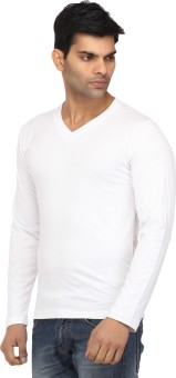 Leana Cool White Fashion Solid Men's V-neck T-Shirt