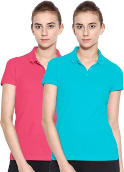 Polo Nation Solid Women's Polo Neck Light Blue, Pink T-Shirt Pack Of 2