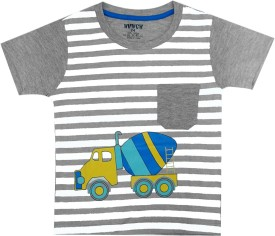 Hunch Graphic Print Boy's Round Neck Grey T-Shirt