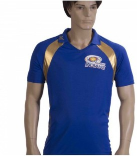 Mumbai Indians Solid Men's, Boy's Polo Blue T-Shirt
