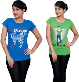 Fine Colors Printed Women's Round Neck Blue, Green T-Shirt Pack Of 2