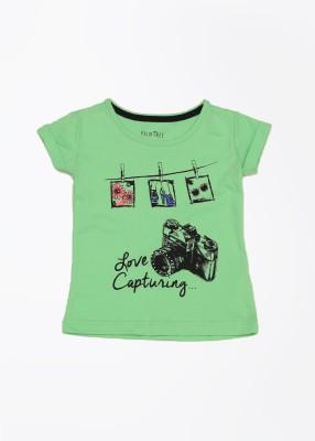 Palm Tree Printed Girl's Round Neck T-Shirt